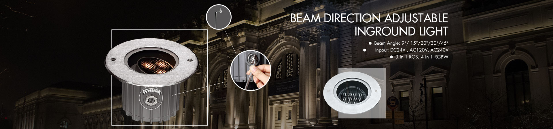 Beam Direction Adjustable Inground Light