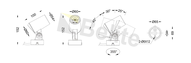 BELITE 10W projector light CREE COB 2700-6500K DALI 0-10V Traic dimming